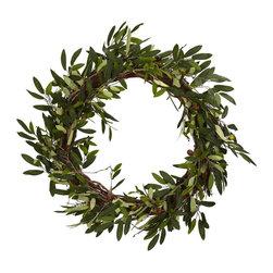 Nearly Natural - 20 in. Olive Wreath - Set the mood for your next dinner event. Filled with beautiful and lush leaves. Will look great for years to come. Construction Material: Polyester material, Iron wire, Wood. 20 in. W x 20 in. D x 20 in. H ( 2 lbs. )Conjuring up images of old friends and close family, this striking Olive Wreath will help to set the mood for your next dinner event. Filled with beautiful and lush green leaves encompassing a perfect circle, this Olive Wreath will be a big hit as you serve up that favorite Italian or Greek meal, whetting your guests' appetites for not only for the food, but the wonderful surroundings.