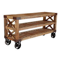 Recycled Pine Wood Console | Wisteria - If this isn't the perfect industrial style cart for a loft, I'm not sure what is. Imagine the television propped atop it, use it as a dining room buffet, or neatly stack your favorite T-shirts on it in the bedroom. Or when you get sick of using it in one way, simply roll it someplace else and reinvent it!