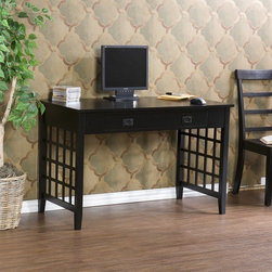 Wildon Home � - Hine Computer Desk - Features: -Computer desk.-Transitional style.-Large single drawer can be used for storage or as a keyboard tray with its fold down face.-Lattice side panels help to divide room space and conceal the area under the desk without feeling too dark and confined.-Light distressing for added character.-Fold down drawer front.-Perfect for laptop or desktop computer.-ISTA 3A certified.-Ash veneer and hardwood with MDF construction.-Distressed: Yes.Dimensions: -Drawer dimensions: 2.5'' H x 29'' W x 16'' D.-Dimensions: 30.25'' Height x 48'' Width x 23.75'' Depth.-Overall Product Weight: 69 lbs.Assembly: -Assembly required.Warranty: -Manufacturer provides one year warranty on parts.
