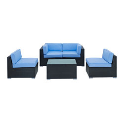 LexMod - Camfora Outdoor Wicker Patio 5 Piece Sofa Set in Espresso with Light Blue Cushio - Simple and serviceable, the Camfora is a great choice for any backyard. Classically styled furniture crafted out of all weather materials meant to last, this set will please year after year. Enjoy some quality time in the fresh air with the Camfora set.