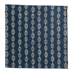 Cricket Radio - Montauk Chains Napkin, Set of 2, Navy/Tan - Need to break the chain on ho-hum dinner parties? Each set of two napkins features nautical chains printed in ecofriendly inks on soft Italian linen. They're 20 inches square and come in your choice of colors so your next soiree will get the nautical style anchor you crave.