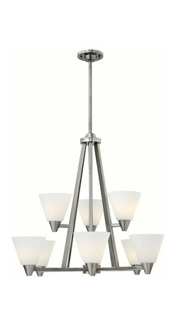 Hinkley Lighting - Hinkley Lighting 3668BN Dillon Transitional Chandelier - Dillons contemporary  stem hung design features a floating cast double ring intersection as the centerpiece. The absence of a center tube contributes an airy grace to its robust tube construction.