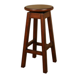 American Heritage - American Heritage Taylor Stool in Suede - 26 Inch - This simple yet elegant stool is the real deal. The fully assembled massive wood frame is designed to last. The circular wood swivel seat is amazingly comfortable. A perfect addition to any room of the house.