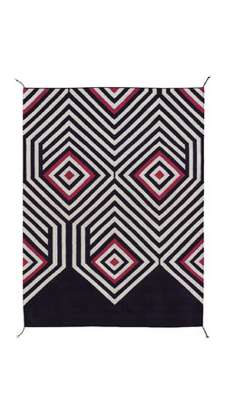Cotton & Wool Carpet - Floor carpet 100% cotton and wool, natural pigments (cochineal, indigo and granada). From Oaxaca, Mexico.