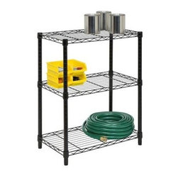 Honey Can Do - Honey-Can-Do 3-Tier Black Adjustable Shelving System - Create visible, accessible storage space instantly with Honey-Can-Do industrial shelving systems. Contemporary black finish and sturdy steel frame make this unit the perfect blend of style and functionality. Durable enough for the home or garage; this high-quality shelving is capable of withstanding up to 250lbs per shelf. Adjustable shelves allow you to change the configuration as your storage needs evolve. Combine multiple units to create a customized storage wall. The no-tool assembly allows you to construct in minutes a shelving unit that will last for years.