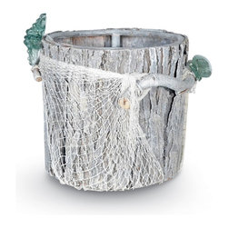 Palecek - Glass Net Round Basket - Basket is made from repurposed hardwood, recycled glass accents, with fish netting decor. Finished in a natural wash technique.