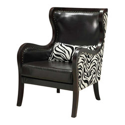 Coaster - Coaster Exposed Wood Zebra Print Accent Chair in Cappuccino - Coaster - Club Chairs - 902069 - Brighten up the feeling inside your home with this transitional styled zebra print chair. A piece that was made for style and comfort, this living room accent chair enhances excitement with a unique design that is fun and original. While smooth pulled upholstery and sleek flowing lines complement the piece with contemporary style, nail head trims and exposed wood elements take their roots from classic furniture design. A decorative piece that is a true conversation starter, this chair complements homes seeking an edgy appearance. This chair can be used in living rooms, family rooms, parlors, dens and bedrooms.