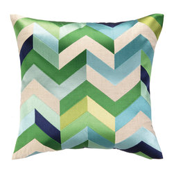 "DL Rhein - DL Rhein Arrowhead Blue/Green Embroidered Pillow - The DL Rhein Arrowhead pillow exudes eclectic style in bold hues. Modern and mesmerizing, this decorative accessory dazzles in an embroidered green, white and blue chevron print. 20""W x 20""H; 100% ramie; Dry clean only; Feather-down fill insert included"