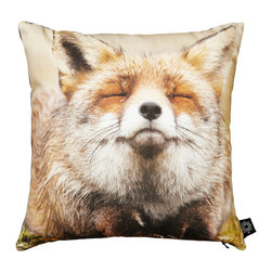 "By Nord Copenhagen - Baby Happy Fox Kids Pillow - We love how happy this fox looks. This kids cushion with a digital print of a little fox in By Nord's recognized cotton canvas quality fitted with a hypoallergenic fiber cushion. 16"" x 16"""