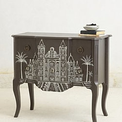 "Anthropologie - Handpainted Architecture Chest - Two drawersMango wood32""H, 36""W, 18""DImported"
