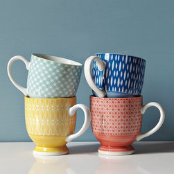 """Modernist Mugs - I am absolutely in love with these mugs. The patterns look amazing together, but you can buy them individually if there's one color that is speaking to you particularly. Dimensions: 3.25""""diam. x 3.5""""h. Microwave and dishwasher safe. Made of porcelain."""