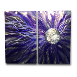 Miles Shay - Metal Wall Art Decor Abstract Contemporary Modern Sculpture- Solare Purple - This Abstract Metal Wall Art & Sculpture captures the interplay of the highlights and shadows and creates a new three dimensional sense of movement as your view it from different angles.