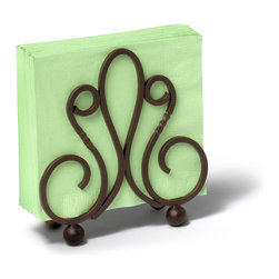 Spectrum Diversified Designs - Patrice Napkin Holder - Bronze - Keep napkins contained with our bronze Patrice Napkin Holder. Made of sturdy steel and includes a fleur de lis motif.