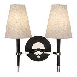 Robert Abbey - Robert Abbey Jonathan Adler Ventana Double Sconce PN771 - Ebony Finished Wood with Polished Nickel Finished Accents