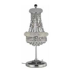 """PWG Lighting / Lighting By Pecaso - Adele 6-Light 12"""" Crystal Table Lamp 1530TL12C-SS - This classic, elegant Empire series is flowing with symmetry creating a dramatic explosion of brilliance. Adele is a dynamic collection of Crystal Chandeliers that add decorative drama to any setting."""