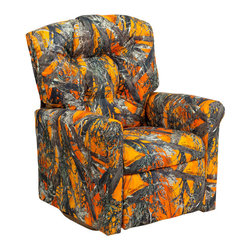 """Flash Furniture - Kids Orange Camouflage Fabric Rocker Recliner - Kids will now be able to enjoy the comfort that adults experience with a comfortable recliner that was made just for them! This chair features a strong wood frame with soft foam and then enveloped in durable fabric upholstery for your active child. Choose from an array of colors that will best suit your child's personality or bedroom. This petite sized recliner features a rocker frame for kids to enjoy and feel like a big kid. The rocking feature becomes disabled once the chair is reclined for safety. Child's Recliner; Orange Camouflage Fabric Upholstery; Easy to Clean Upholstery; Plush Button Tufted Back; Spring Seat; Fire Retardant Foam; UFAC Tested and Approved; Solid Hardwood Frame; Hardwood Rocker Frame; Intended use for Children Ages 2-9; 90 lb. Weight Limit; Safety Feature: Will not rock while reclined due to welded T-Bar; Overall dimensions: 22.5""""W x 24"""" - 37""""D x 28""""H"""