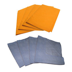 The Felt Store - 4 Micro Fiber Cloth 16 x 16 Inch Light Blue and 4 Orange Chamois 19 x 27 Inch - This kit includes both our high quality chamois and micro fiber cloths. Our heavy weight micro fiber cloths offer superior quality compared to less dense cheaper ones on the market! Save time, money, and protect the environment with these unique Micro Fiber Cloths. Made with a dense polyester blend consisting of thousands of tiny grooves, these hypo allergenic cloths easily pick up dirt, dust, oil and grease and are virtually lint free. The non-abrasive material allows for safe use on virtually all surfaces leaving a deep, clean, streak free result without the need of household chemicals! Our Chamois measures 19 inches x 27 inches(482.6mm x 685.8mm),  and are made by one of the best manufacturers in Germany! It is a multi-purpose super absorbent cloth that can be used in the home or cottage, on your vehicles, athletic equipment, work shop, or drying your pets. You will not find a better product for cleaning any type of liquid spill.
