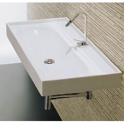 "LaToscana - LaToscana TCL3012 White Piano Piano 40"" Wall Mount or Above Counter - Piano Wall Mount or Above Counter Bathroom Sink with Single Faucet Hole and Built-in Overflow LaToscana: land of great cultural and artistic values, ""Birthplace of the Italian Renaissance"", the age where the humanity and the modern conscience were born after a long period of decline, resume the  Italian way of life , in the Culture, in the Aesthetic and in the Creativity. To this concept the LaToscana Collection is inspired: to create the ""Italian Bathroom Style"", where the beauty of the style is essential and follows the ultimate trends, mixing and refining old fashion with the newest finishing shapes. LaToscana L3012 Features:  Ceramic construction Single faucet hole Includes overflow  LaToscana L3012 Specifications:  40""W x 20""D x 5""H overall dimensions"