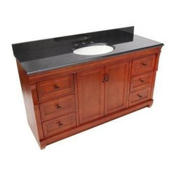 Foremost - Foremost Naples 61 in. W x 22 in. D Vanity, Warm Cinnamon (NACABK6122S) - Foremost NACABK6122S Naples 61 in. W x 22 in. D Vanity with Granite Top in Black with Single Bowl in White, Warm Cinnamon