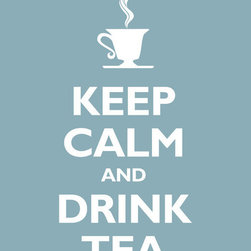 Keep Calm Collection - Keep Calm and Drink Tea, archival print (light blue) - This item is an Art Print which means it is a higher-quality art reproduction than a typical poster. Art prints are usually printed on thicker paper, resulting in a high quality finish. This print is produced on a 270 gsm fine art paper stock.