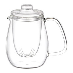 Kinto - UNITEA Glass Tea Pot Set, Large - UNITEA is composed of durable, heat-resistant glass and is applicable for any types of tea. Its award-winning, innovative design combines contemporary appeal with convenient functionality. A long-standing favorite among tea-lovers everywhere.