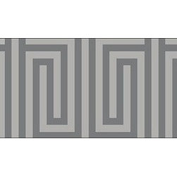 Casart coverings - Mini Maze Wallcoverings, Silver Gray/Soft Charcoal, Backsplash (15 Sq. Ft.), Cas - Celebrate the easy, elegant and everyday style of Libby Langdon with her fresh geometric designs on Casart repositionable, temporary and reusable wallcovering. Groovy Gate is one of the four classic geometrics from the Collection, which can be custom printed on self-adhesive vinyl covering.