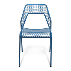 Blu Dot - Blu Dot Hot Mesh Chair, Simple Blue - Chipper chair seeks derrieres for at home enjoyment or cafe canoodling. Available in six finishes: black, green, humble red, natural yellow, simple blue and off-white. Stackable and suitable for use indoors or out. Also available as a chair or counterstool.Powder-coated steel