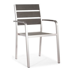 Zuo Modern - Armchair in Brushed Aluminum - Sturdy construction. Slatted faux wood seat and back. Warranty: One year limited. Made from brushed aluminum. Assembly required. Seat: 15.7 in. W x 18.1 in. D x 17.7 in. H. Arm height: 24.8. Overall: 18.1 in. W x 24.4 in. D x 34.5 in. H (13.2 lbs.)