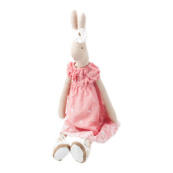 Maileg - Elisa Rabbit Large - Hare's a sweet gift for that special little someone in your life. This cotton tail is made of cotton and outfitted in a striped sundress, laced shoes and a flower in her hair ... er ... ears. She's soft and squeezable and about two and a half feet tall.