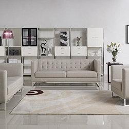 Divani Casa 1400 Modern Grey Fabric Sofa Set (Sofa, Loveseat and Chair) -