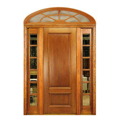 """Arch Top Mahogany Doors - Kentworth mahogany door is 8' high with sidelights and eliptical transom.  Price includes pre-hanging and shipping.  Pre-finishing is available as well as choice of sidelights.  Also available in 6'8""""."""