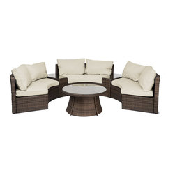 "Reef Rattan - Reef Rattan Half-Moon 6 Pc Curved Bench Sofa Set - Chocolate Rattan / Beige Cush - Reef Rattan Half-Moon 6 Pc Curved Bench Sofa Set - Chocolate Rattan / Beige Cushions. This patio set is made from all-weather resin wicker and produced to fulfill your needs for high quality. The resin wicker in this patio set won't fade, shrink, lose its strength, or snap. UV resistant and water resistant, this patio set is durable and easy to maintain. A rust-free powder-coated aluminum frame provides strength to withstand years of use. Sunbrella fabrics on patio furniture lends you the sophistication of a five star hotel, right in your outdoor living space, featuring industry leading Sunbrella fabrics. Designed to reflect that ultra-chic look, and with superior resistance to the elements in a variety of climates, the series stands for comfort, class, and constancy. Recreating the poolside high end feel of an upmarket hotel for outdoor living in a residence or commercial space is easy with this patio furniture. After all, you want a set of patio furniture that's going to look great, and do so for the long-term. The canvas-like fabrics which are designed by Sunbrella utilize the latest synthetic fiber technology are engineered to resist stains and UV fading. This is patio furniture that is made to endure, along with the classic look they represent. When you're creating a comfortable and stylish outdoor room, you're looking for the best quality at a price that makes sense. Resin wicker looks like natural wicker but is made of synthetic polyethylene fiber. Resin wicker is durable & easy to maintain and resistant against the elements. UV Resistant Wicker. Welded aluminum frame is nearly in-destructible and rust free. Stain resistant sunbrella cushions are double-stitched for strength and are fully machine washable. Removable covers made with commercial grade zippers. Tables include tempered glass top. 5 year warranty on this product. PLEASE NOTE: Throw pillows are NOT included. Curved Bench (3): W 66"" D 35"" H 30"", Side Table (2): W 20"" D 30"" H 20"", Round Coffee Table: W 38"" D 38"" H 18"""