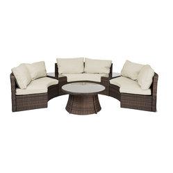 reef rattan reef rattan 6 piece curved bench sofa set