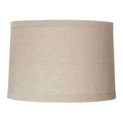 """Lamps Plus - Contemporary Springcrest™ Natural Linen Drum Shade 15x16x11 (Spider) - Add a chic casual element to your home decor with this natural linen polyester blend drum shade. The design features self trim on the top and bottom and a taupe polyester liner. The correct size harp is included free with this shade. Hardback drum shade. Natural linen blend. Taupe polyester liner. Self trim on top and bottom. 15"""" across the top. 16"""" across the bottom. 11"""" high.  Hardback drum shade.  Natural linen.  Taupe polyester liner.  Self trim on top and bottom.  15"""" across the top.  16"""" across the bottom.   11"""" high."""