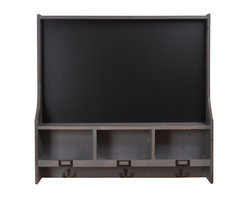 Enchante Accessories Inc - Wood Chalkboard Organizer With 3 Cubbies and Coat Hooks, Distressed Gray - This Large Chalkboard is great for messages and reminder lists directly over your coats and personal stuff like keys etc. Leave a note on your way in or out.