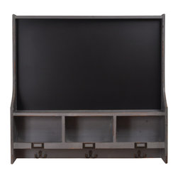 "Enchante Accessories Inc - Wood Chalkboard Organizer with 3 Cubbies and Coat Hooks 30""x29""(Distressed Gray) - This Large Chalkboard is great for messages and reminder lists directly over your coats and personal stuff like keys etc. Leave a note on your way in or out."
