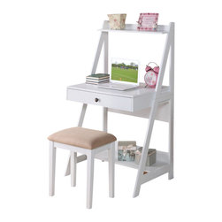 Adarn Inc. - 2 PC White Big Drawer Storage Shelf Student Writing Desk Set - Charming to the eye, behold a piece of office furniture that fits perfect in a small space. Structured in a painter-style ladder, it includes a top and bottom shelf, storage drawer and a matching cushioned stool. Accessories not included.