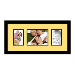 ArtToFrames - ArtToFrames Collage Photo Frame  with 1 - 6x8 and 2 - 4x6 Openings - This modern Satin Black, 1.25 inch thick collage frame, presents an arrangement for 1 - 6x8 and 2 - 4x6 snapshots of your choice. This collage is part of a compilation collage frame selection and boasts an ample line of premium quality frames at a price you can be happy about! Handcrafted and created to suit your snapshots ensuring you 1 - 6x8 and 2 - 4x6 art will fit exactly so. Bordered in a bold Satin Black, smooth frame and joined by a contemporary Canary mat, the collage arrangement truly highlights your photographs, and good-time memories in an entirely unique and new way. This collage frame comes protected in Styrene, easy-to-use with proper hardware and can be presented in the blink of an eye. These superior quality and authentic wood-based collage frames vary in style and size specifics; all in contemporary and modern design. Mats are available in a myriad of color tones, openings, and shapes. It's time to tell your story! Preserving your memories in an original and imaginative new way has never been easier.