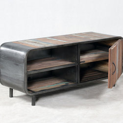 Retro / Midcentury Modern Style TV Entertainment Console - A midcentury modern, retro style TV entertainment console cabinet made from salvaged / reclaimed boat wood.  This furniture has a rustic / modern / industrial look and is very well made.