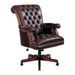 "Coaster - Office Chair (Dark Brown) By Coaster - Traditional Nail head Trim Tufted Back Executive ""Leather like Vinyl"" Office Chair. Dimensions: 29.5""W x 37.5""D x 42.5""- 45.5""H. Finish: Brown/Plum. Material: Wood and Leather like Vinyl. Sit back and relax as you work in this traditional styled leather like Vinyl executive chair. Item features nail head trim, wood base and tufted seat and back with gas lift ."