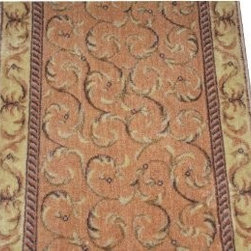 "Dean Flooring Company - Dean Peach Scrollwork Carpet Rug Hallway Stair Runner - Purchase by the Foot - Dean Peach Scrollwork Carpet Rug Hallway Stair Runner - Purchase by the Linear Foot : This runner is sold here by the linear foot. One unit of quantity when you checkout equals one foot of length on your runner. To order more than one runner, you must place separate orders. Width - Approximately 26"". These beautiful carpet runners match our Dean Flooring Company stair treads. This item will be finished (serged with color matching yarn) on all four sides regardless of the length. It is made from polypropylene and acrylic with a woven backing. This runner is great for hallways, staircases, or as an accent rug."