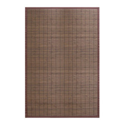 Anji Bamboo Villager Coffee 6'x9' - Our Villager Bamboo Rugs were inspired by the traditional bamboo floor covers in Asia.  Made from the finest and strongest sustainably-harvested bamboo, these rugs add a touch of practical elegance to any room.  Kiln-dried bamboo is machine-planed and sanded for a smooth finish.In addition, the patented, ventilated non-slip rug pad backing cushions the rug and keeps it in place.   Also available in: Natural, Crimson and Ebony.Available sizes: 2'x3', 4'x6' and 5'x8'.