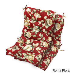None - Outdoor Seat/ Back Tie-on Chair Cushions (Set of 2) - Circle tacks add dimension while keeping cushions put in this durable set of two tie-on chair cushions. Available in several bright prints,these fun seat and back cushions are filled with four inches of thick,comfortable poly fiber.