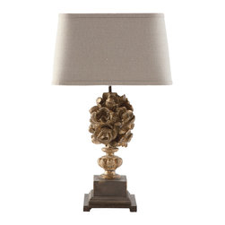 Kathy Kuo Home - Pair Antique Gold Floral Bouquet European Table Lamp - With rich gold peering through layers of dark antique rub, the beautiful floral arrangement of this lamp is truly astonishing. A dark linen shade, tea-stained cord and black metal base all work in perfect harmony to bring this lamp to life.  Price marked is for a pair.