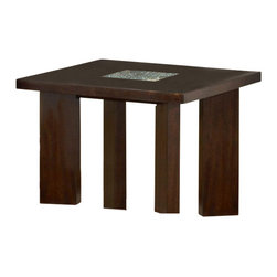 Steve Silver Company - Steve Silver Company Delano End Table - Steve Silver Company - End Tables - DE150E - For a sleek and contemporary look the Delano End Table offers a rich espresso finish turned out legs and our signature cracked glass insert.