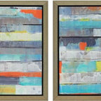 Paragon Decor - Metro Set of 2 Artwork - Prints are textured and dimensionally framed in silver finish molding.