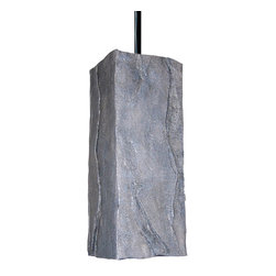 A19 - Stone Pendant - Rugged and strong, the look of chiseled rock, this ceramic Stone Pendant is amazingly realistic and especially durable and corrosion resistant. The opaque ceramic shade blocks glare while providing generous down-lighting. The Grey finish has a variation of cool and warm tones and because it's gently applied by hand, no two will be identical.