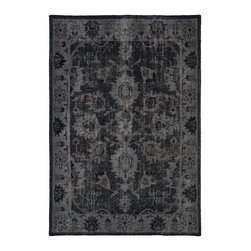 Kaleen - Contemporary Restoration 4'x6' Rectangle Black Area Rug - The Restoration area rug Collection offers an affordable assortment of Contemporary stylings. Restoration features a blend of natural Black color. Hand Knotted of 100% Wool the Restoration Collection is an intriguing compliment to any decor.