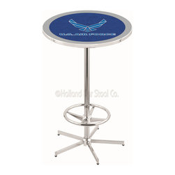 Holland Bar Stool - Holland Bar Stool L216 - 42 Inch Chrome U.S. Air Force Pub Table - L216 - 42 Inch Chrome U.S. Air Force Pub Table  belongs to Military Collection by Holland Bar Stool Made for the ultimate sports fan, impress your buddies with this knockout from Holland Bar Stool. This L216 U.S. Air Force table with retro inspried base provides a quality piece to for your Man Cave. You can't find a higher quality logo table on the market. The plating grade steel used to build the frame ensures it will withstand the abuse of the rowdiest of friends for years to come. The structure is triple chrome plated to ensure a rich, sleek, long lasting finish. If you're finishing your bar or game room, do it right with a table from Holland Bar Stool.  Pub Table (1)