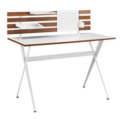 Knack Wood Desk - Keep your slate clean with the Knack desk. Knack features a smooth white melamine paneled top and powder coated white steel A-frame base that helps keep the creative juices flowing. Four wood grain patterned panels complement a white magentic center useful for hanging photos or notes. Knack comes with two metal trays to hold pertinent sketches and paperwork, and a location adjustable container to hold your assortment of writing implements. Knack is a fun piece for contemporary rooms looking to enhance the basics of innovation.